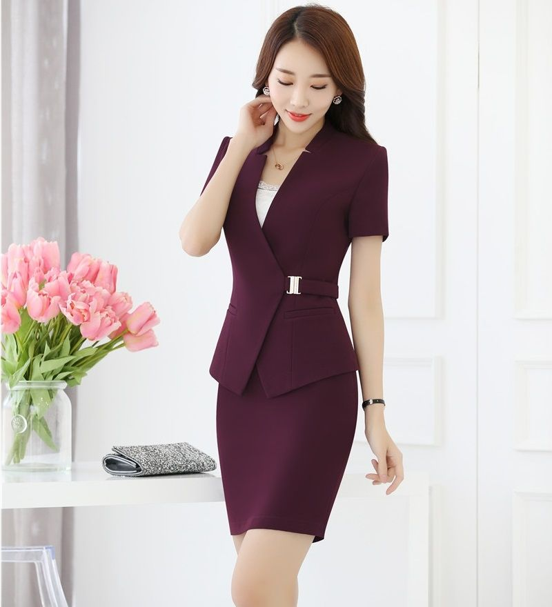 90370d4f44f7 Dress Outfits · Summer Formal Purple Blazer Women Business Suits with Skirt  and Jacket Sets Ladies Work Wear Office