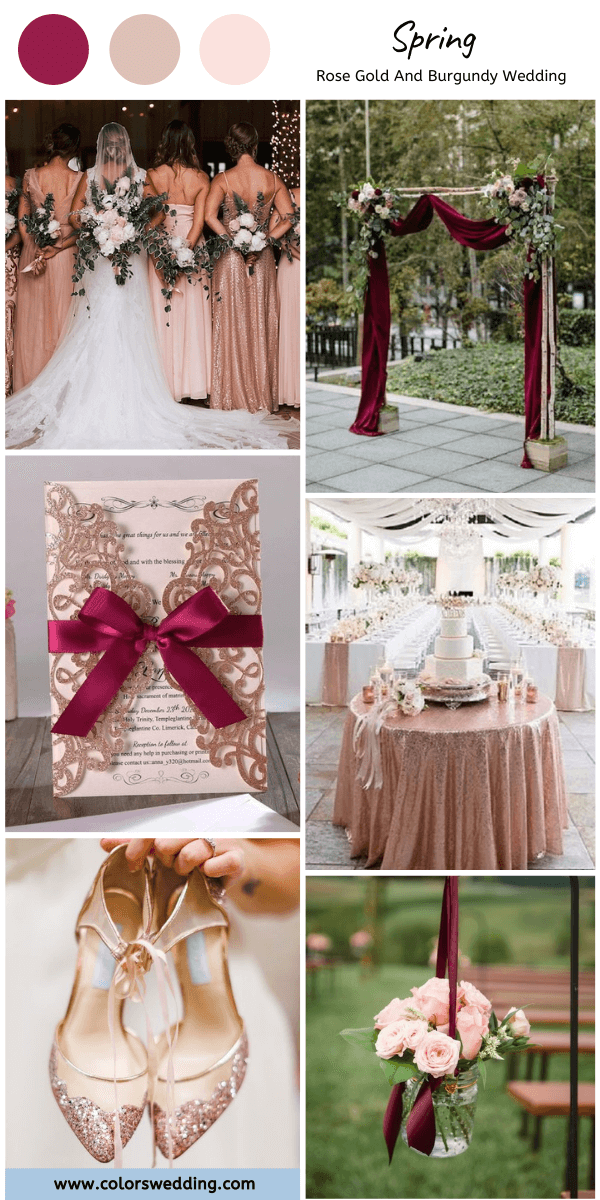 Rose Gold and Burgundy Spring Wedding, Rose Gold Bridesmaid Dresses and Burgundy Wedding Arch