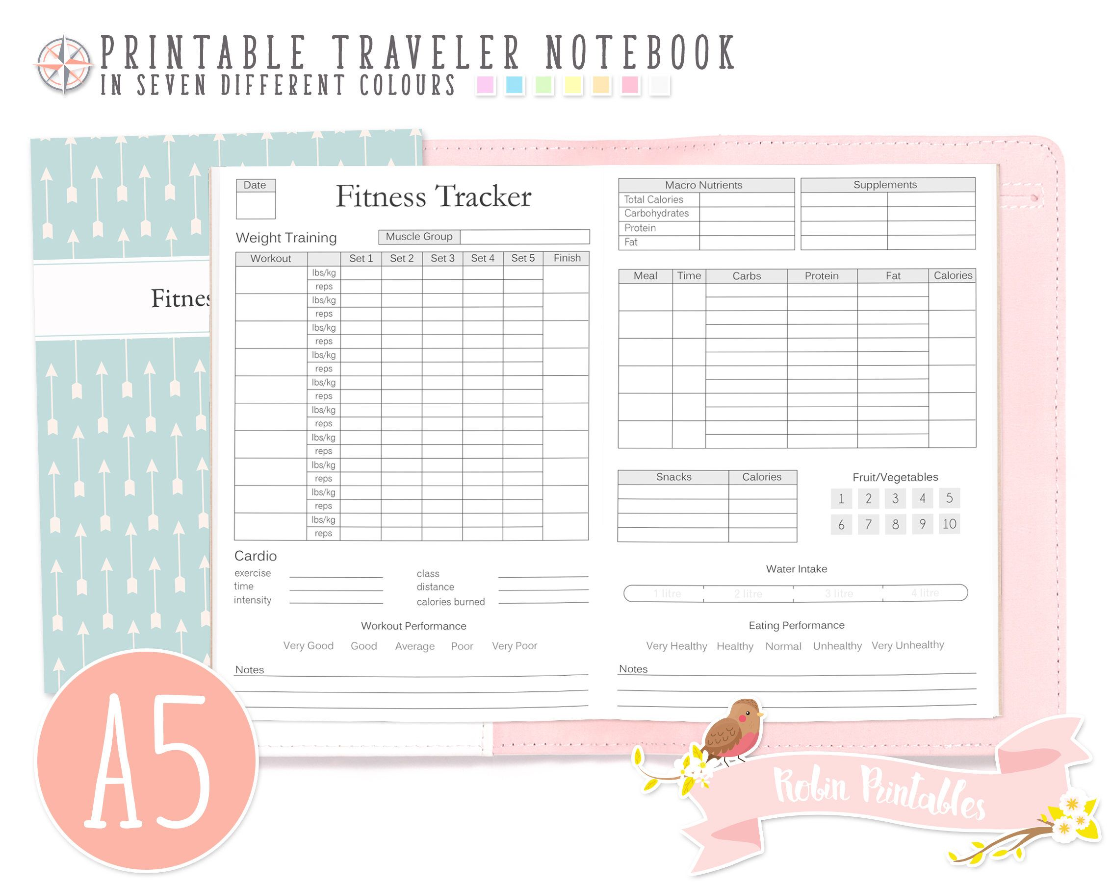 a5 fitness tracker traveler notebook refill printable tn pdf