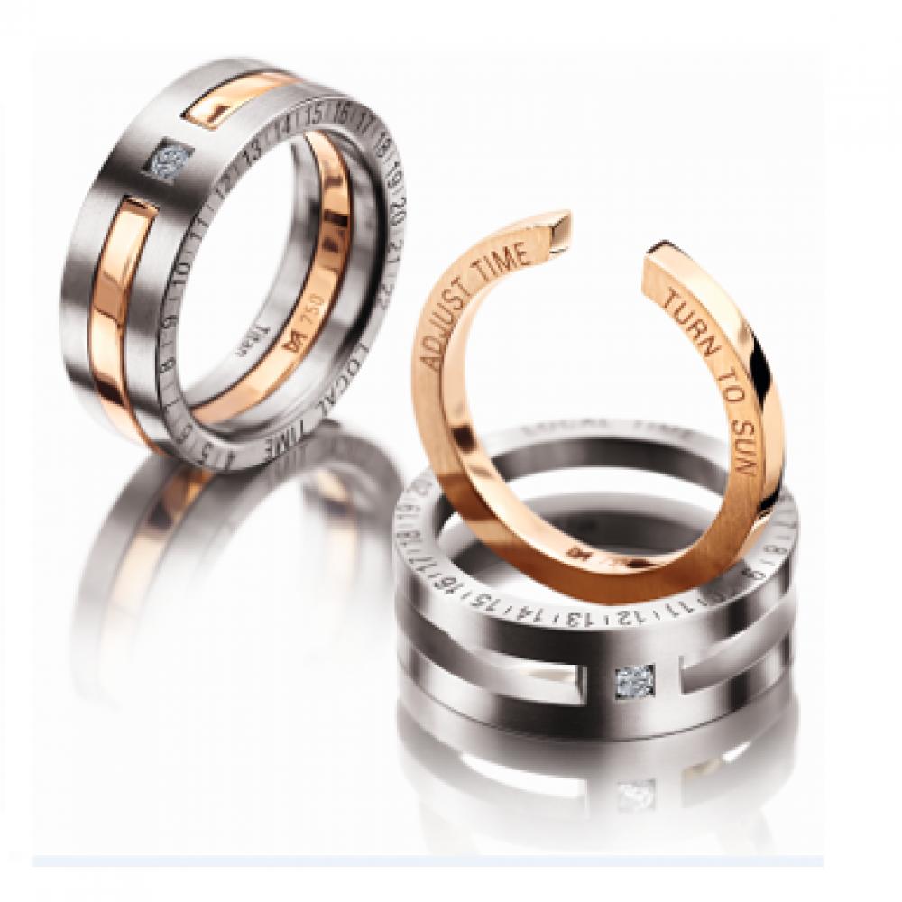 Gents Titanium & 18ct Gold Compass RIng Wedding rings