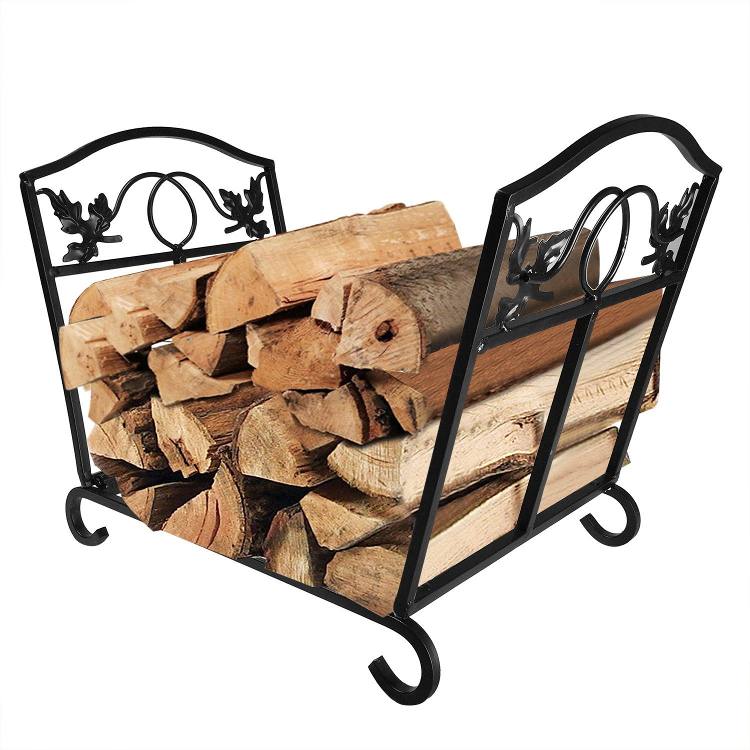 fireplace log holder wrought iron indoor fire wood stove stacking