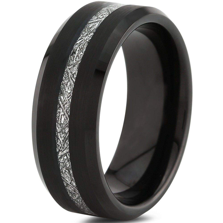 Tungsten Wedding Band Ring 8mm for Men Women Black Grey