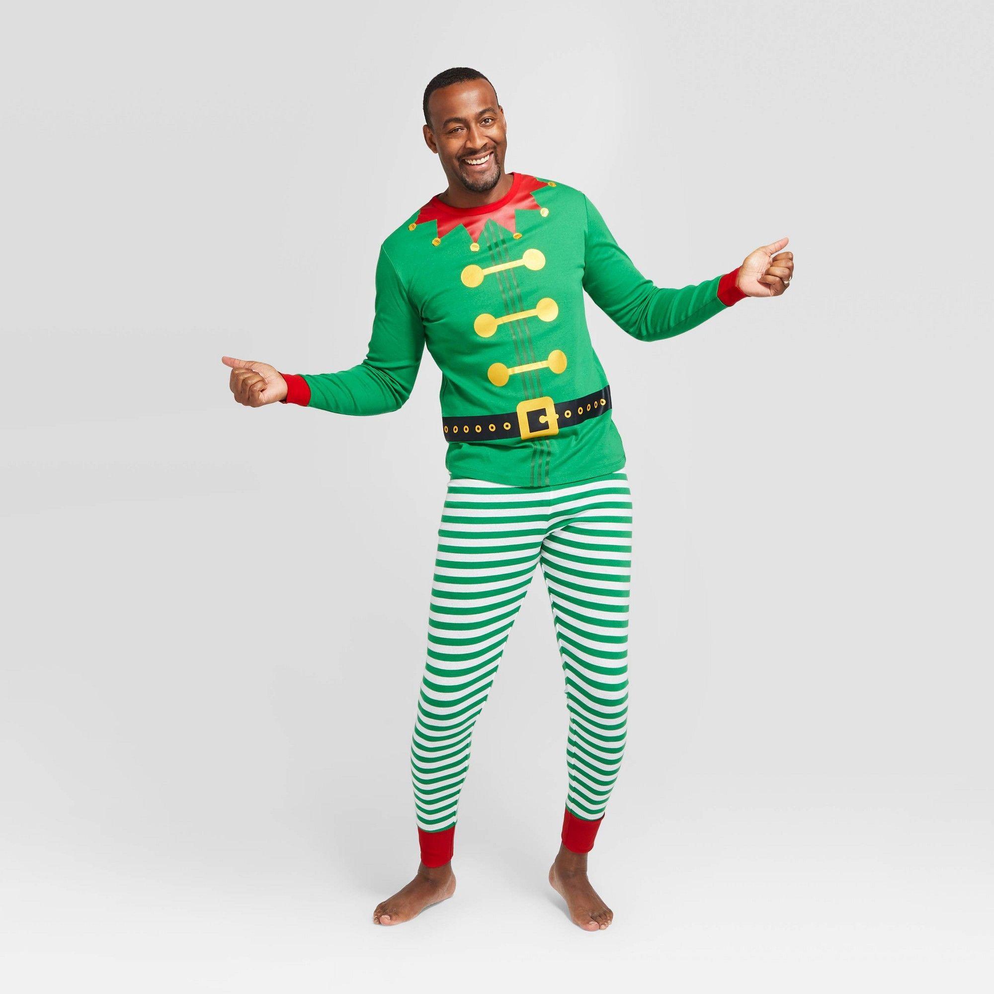 Men's Big & Tall Holiday Elf Pajama Set Green