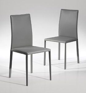 Sumptuous grey leather gives this set of 2 Neiland chairs a sophisticated sense to the contemporary & Sumptuous grey leather gives this set of 2 Neiland chairs a ...