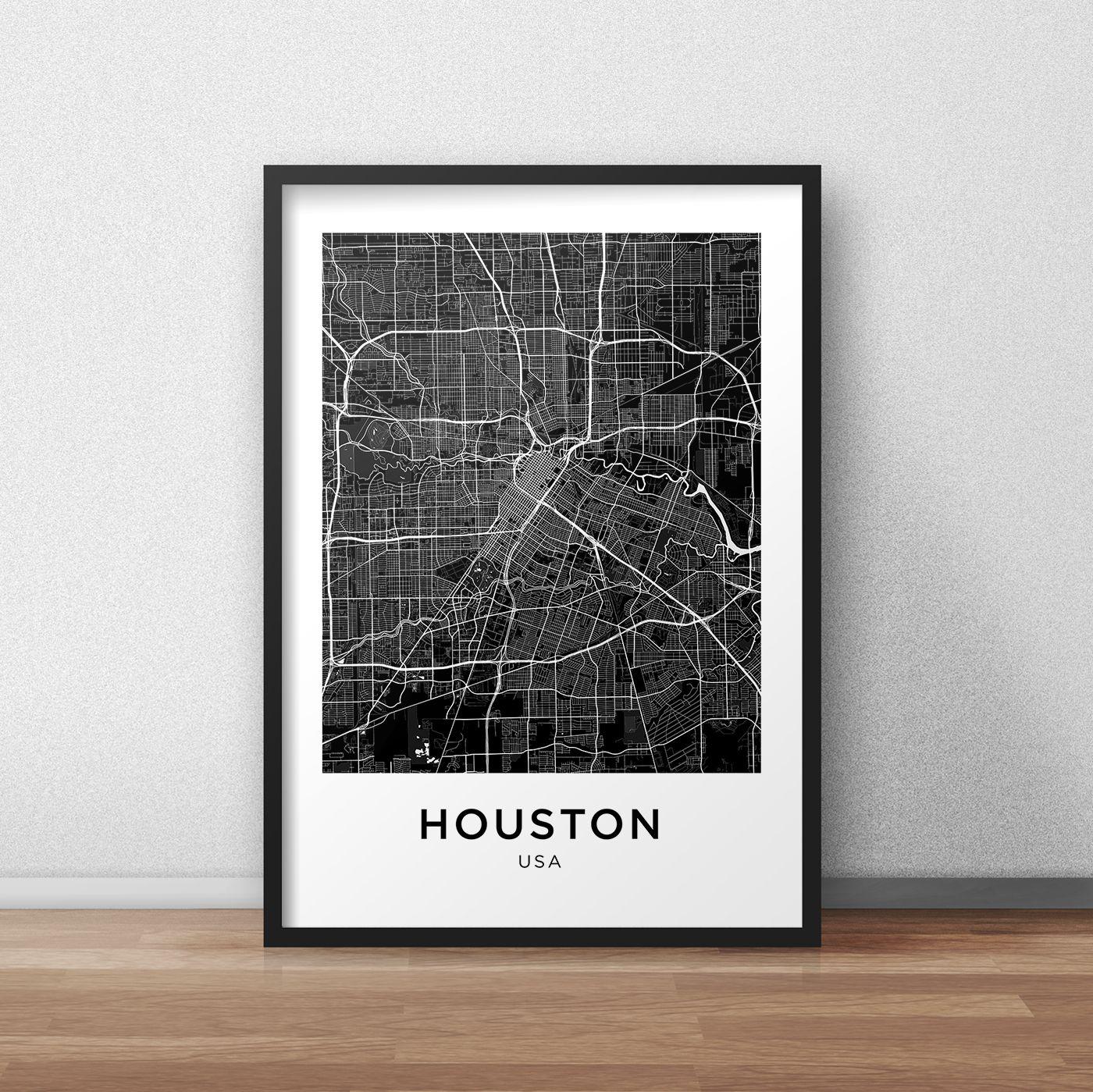 Houston Map Print Houston Map Download City Map Houston Houston