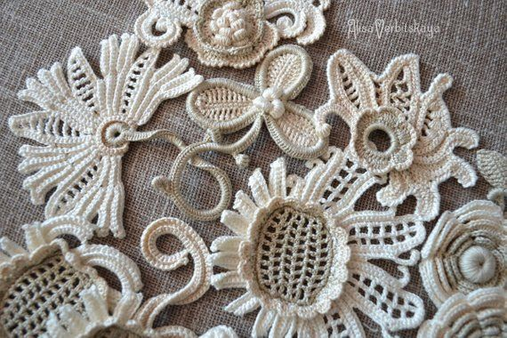 DIY Set flower Irish Crochet Flower applique 10pcs Crochet flower Flower design Irish lace Flower necklace Irish Crochet lace Crochet collar #irishcrochetflowers