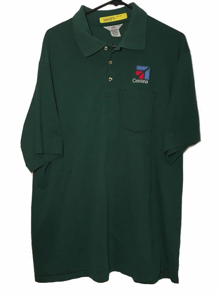 Vtg Cessna Men S Green Airplane Golf Polo Shirt Embroidered Logo