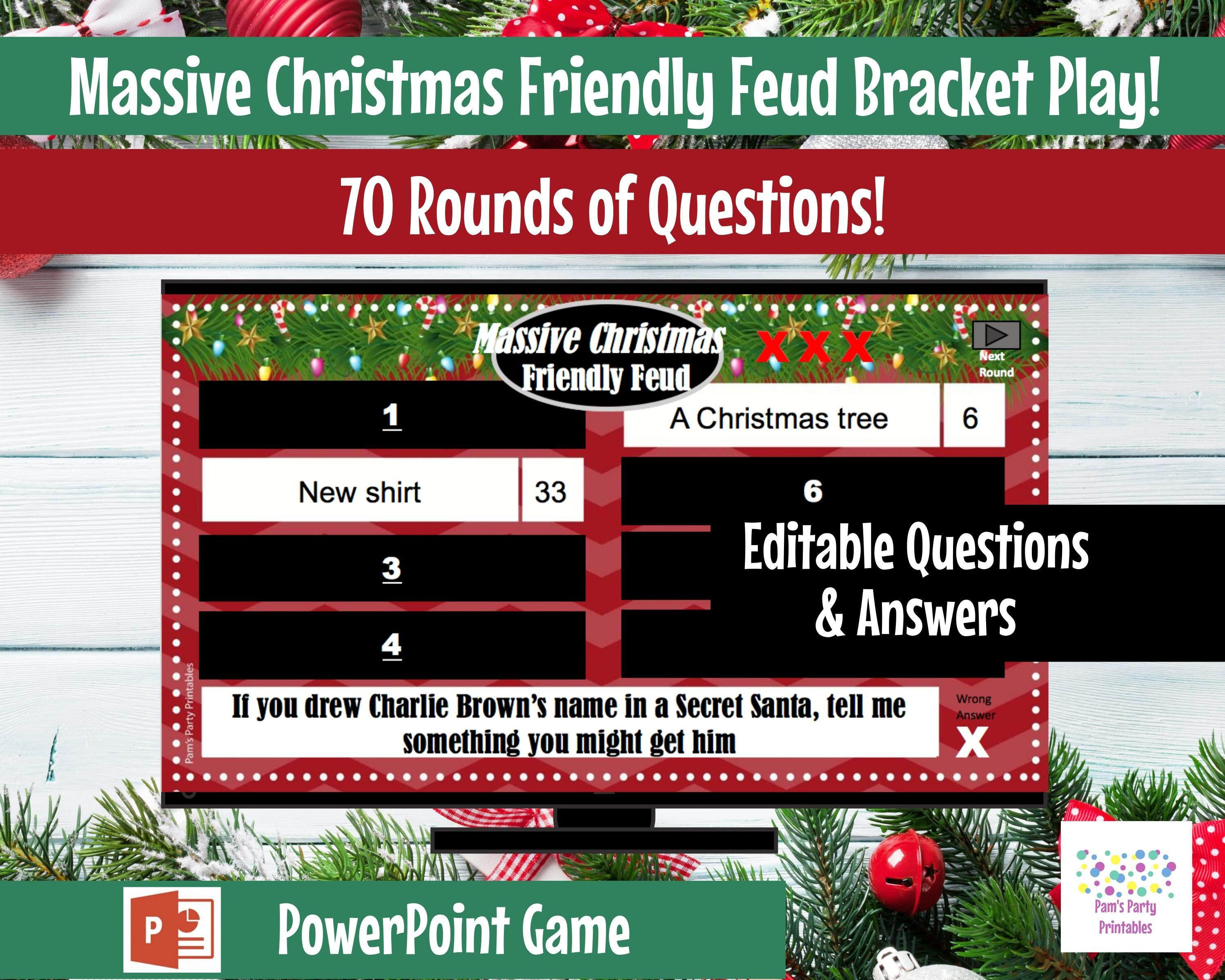 Massive Christmas Friendly Feud, Editable, PowerPoint Game