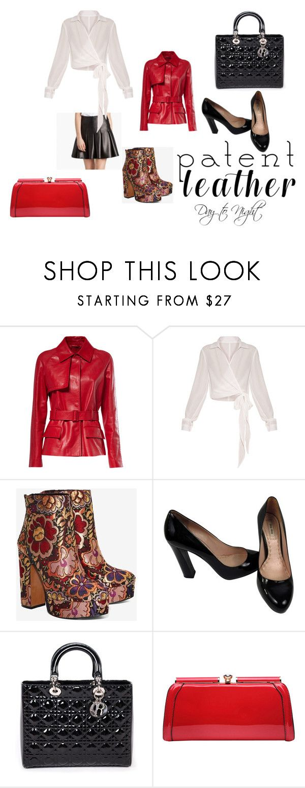 """""""Patent Leather Day to Night"""" by jackiecolbridge on Polyvore featuring Anthony Vaccarello, Shellys, Miu Miu, Christian Dior and MKF Collection"""