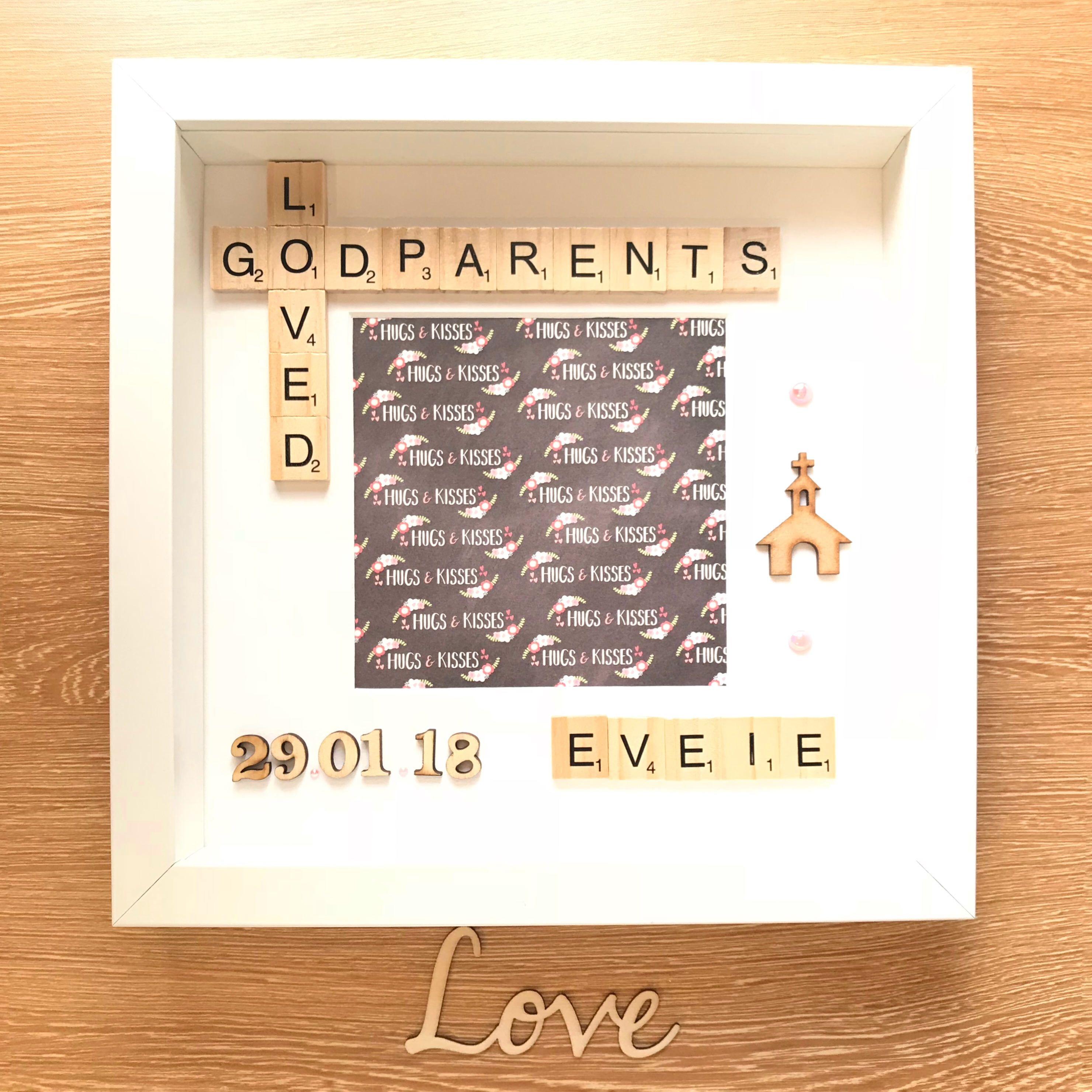 Godparents Scrabble Photo Box Frame. Gift for Godparents. Godmother ...