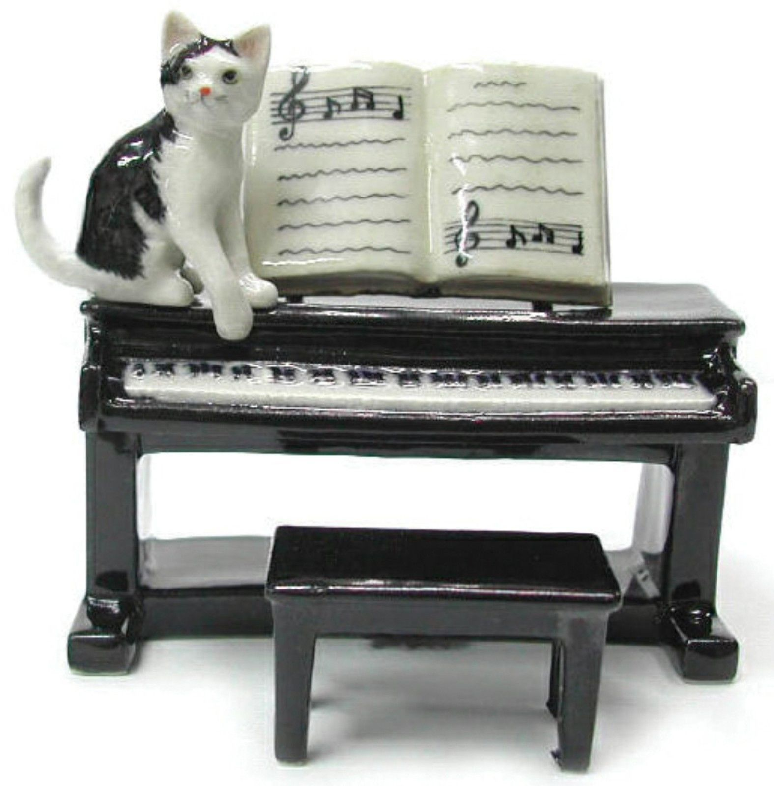Northern Rose Miniature Porcelain Animal Musician Figure Kitten with Piano R244