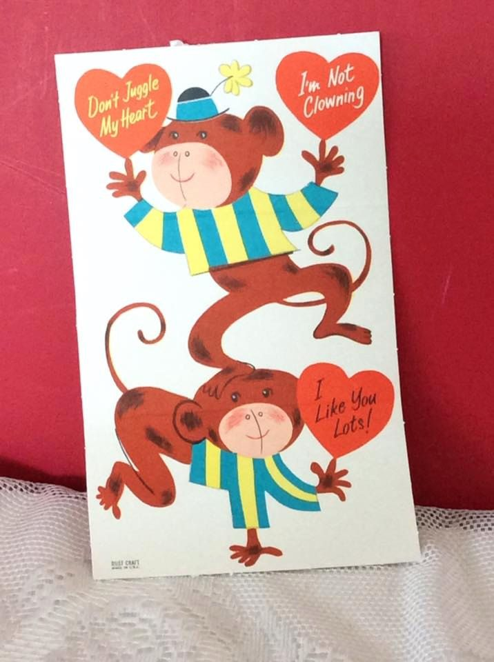 Vintage 1950s Valentine Fold A Note Card With Monkeys Collectible