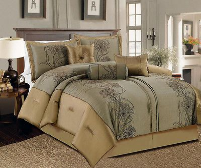 11 Piece Queen Peyton Taupe and Gray Bed in a Bag w/500TC Cotton Sheet Set