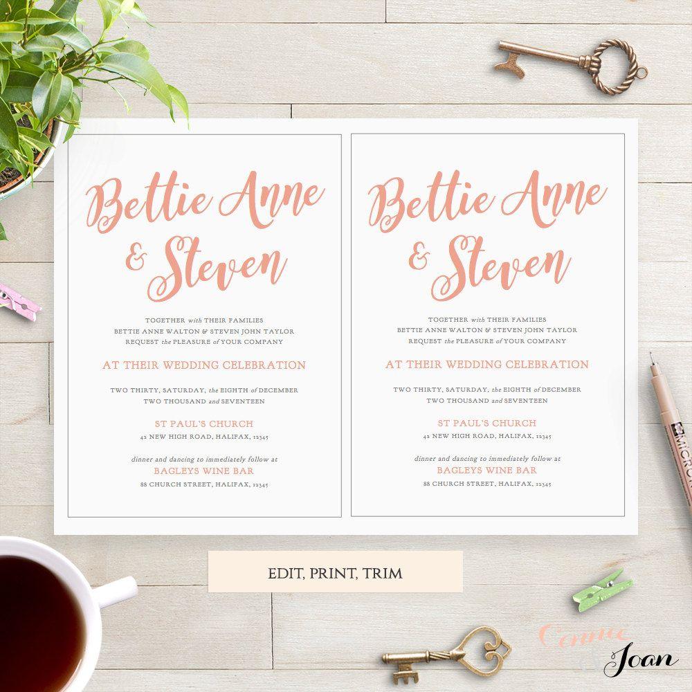 Coral wedding Invitation template 5x7, printable invitation ...