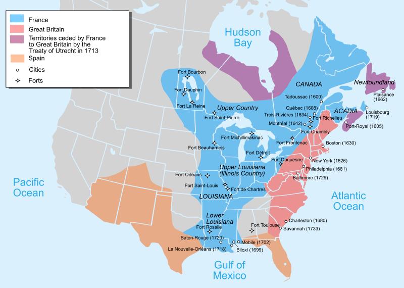 Map of North America 1750 Bottineau Pinterest History