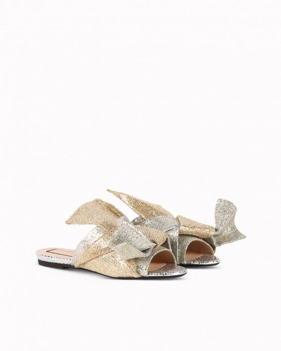fd05d94a09b965 Bow-effect sliders N°21  N21  flats  mules  sandals  glitter  gold ...