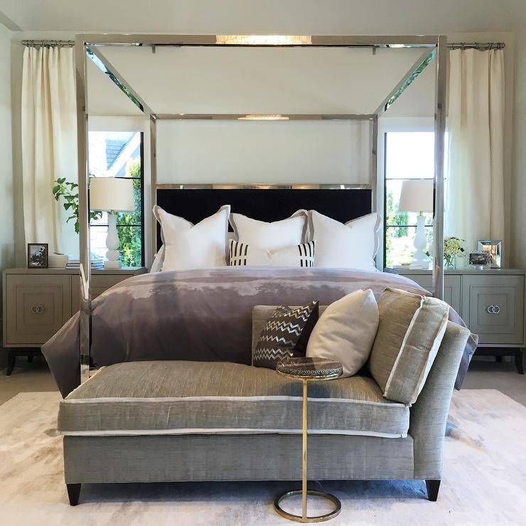 Best Exquisite Bedroom Features A Mirrored Canopy Bed Accented 400 x 300
