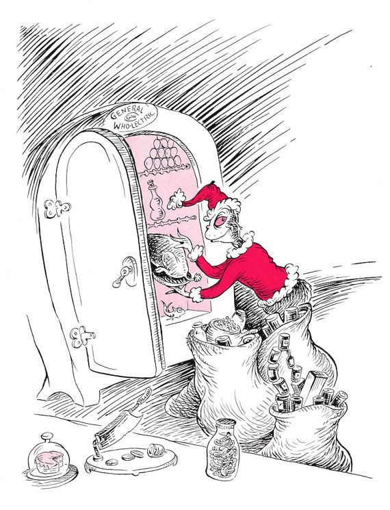 How The Grinch Stole Christmas Book Illustrations.Grinch Dr Seuss Vintage Illustration How Grinch Stole