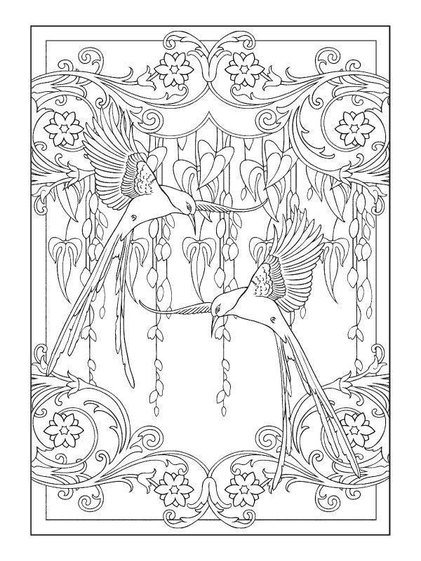 Art Nouveau Animal Designs Coloring Book With Images Coloring
