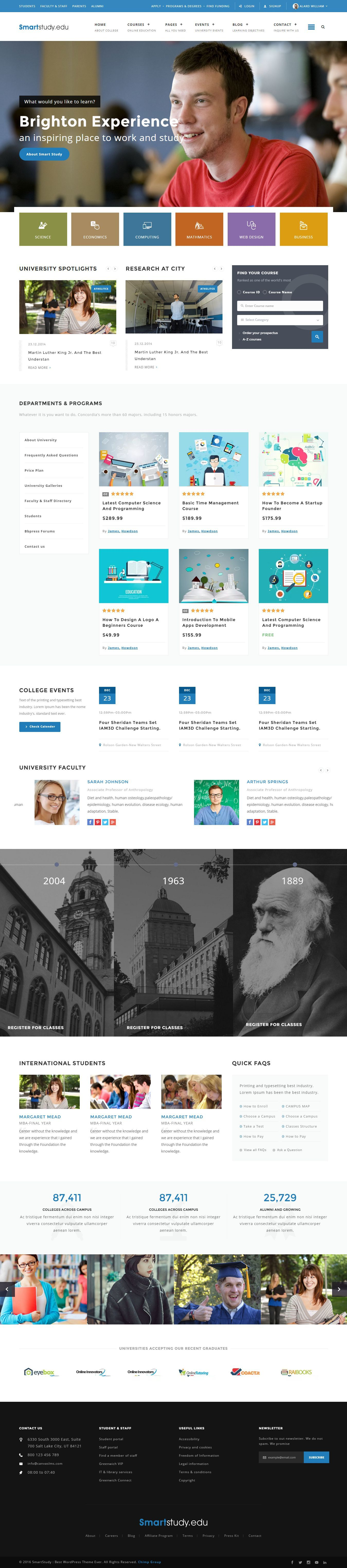 Smartstudy Responsive Education Html Template Learning Management System Education Website Templates Web Layout Design