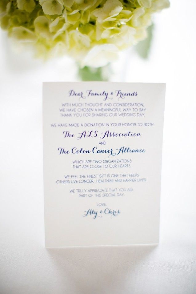 7 Wedding Favor Ideas // Donation to Charity in Your Guests' Honor // Marissa Eileen Photography // Columbus, Ohio // www.marissae.com