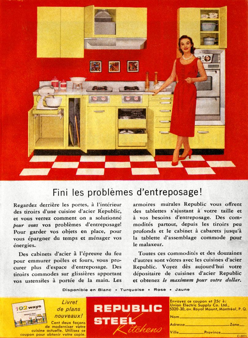 Republic Steel Kitchens Ad From 1957 Retro Color Palette Color Palette Bright Vintage House