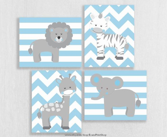 CANVAS Baby Boy Nursery Decor - Light Blue and Gray ...