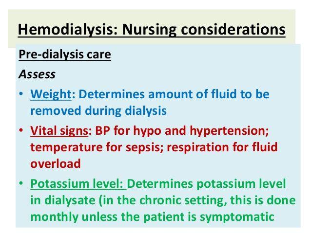 Hemodialysis: Nursing considerations | Dialysis Nursing