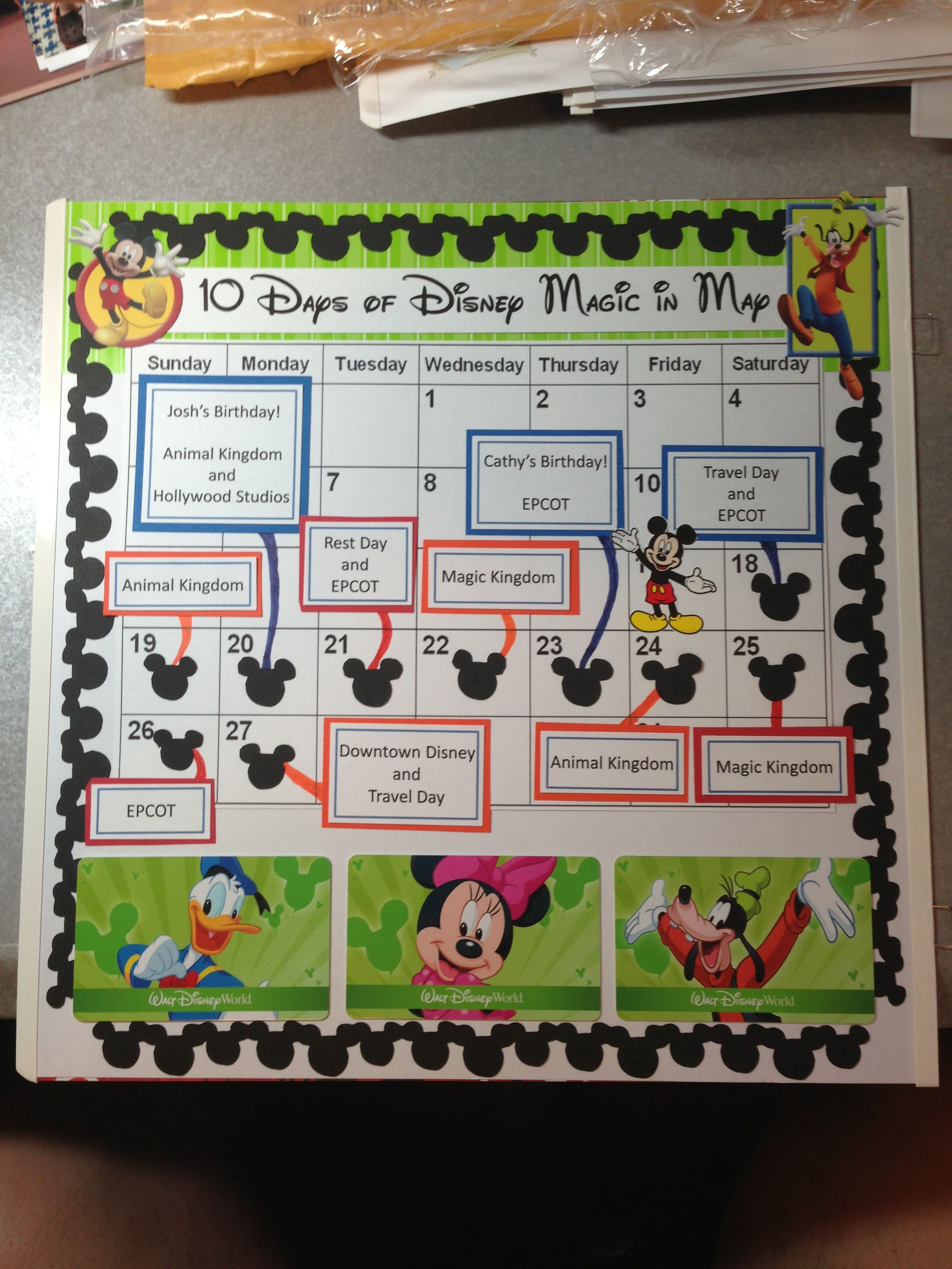 How to scrapbook disney vacation - Disney World Calendar Itinerary Would Be A Cute Page Idea To Document Travel Dates
