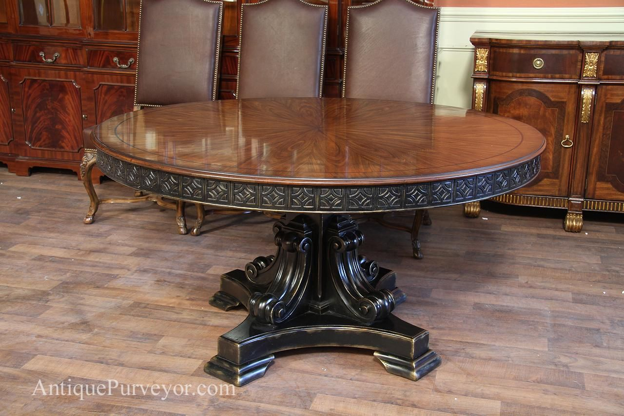 Antique reproduction 60 inch round walnut finished table with ...