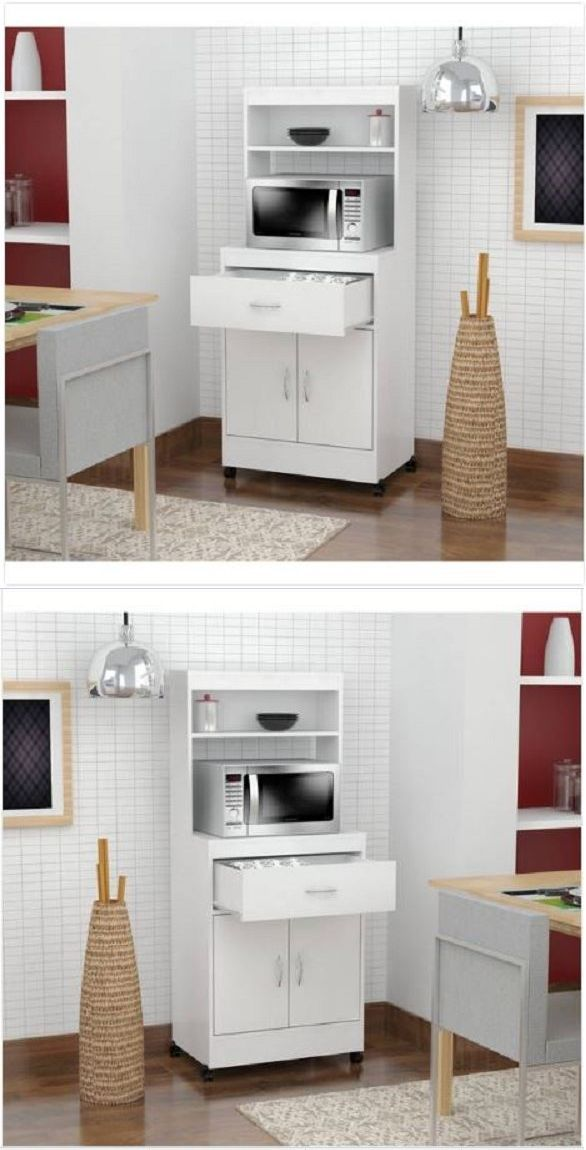 Kitchen Islands Kitchen Carts 115753: Microwave Oven Cart White Wood ...