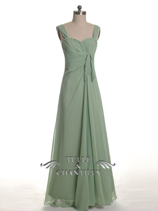 Vintage Moss Green Adult Bridesmaid Dress With Draped Bodice ...
