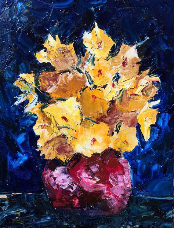 Wall Art Home Decor, Impressionist Palette knife Floral, Flowers ...