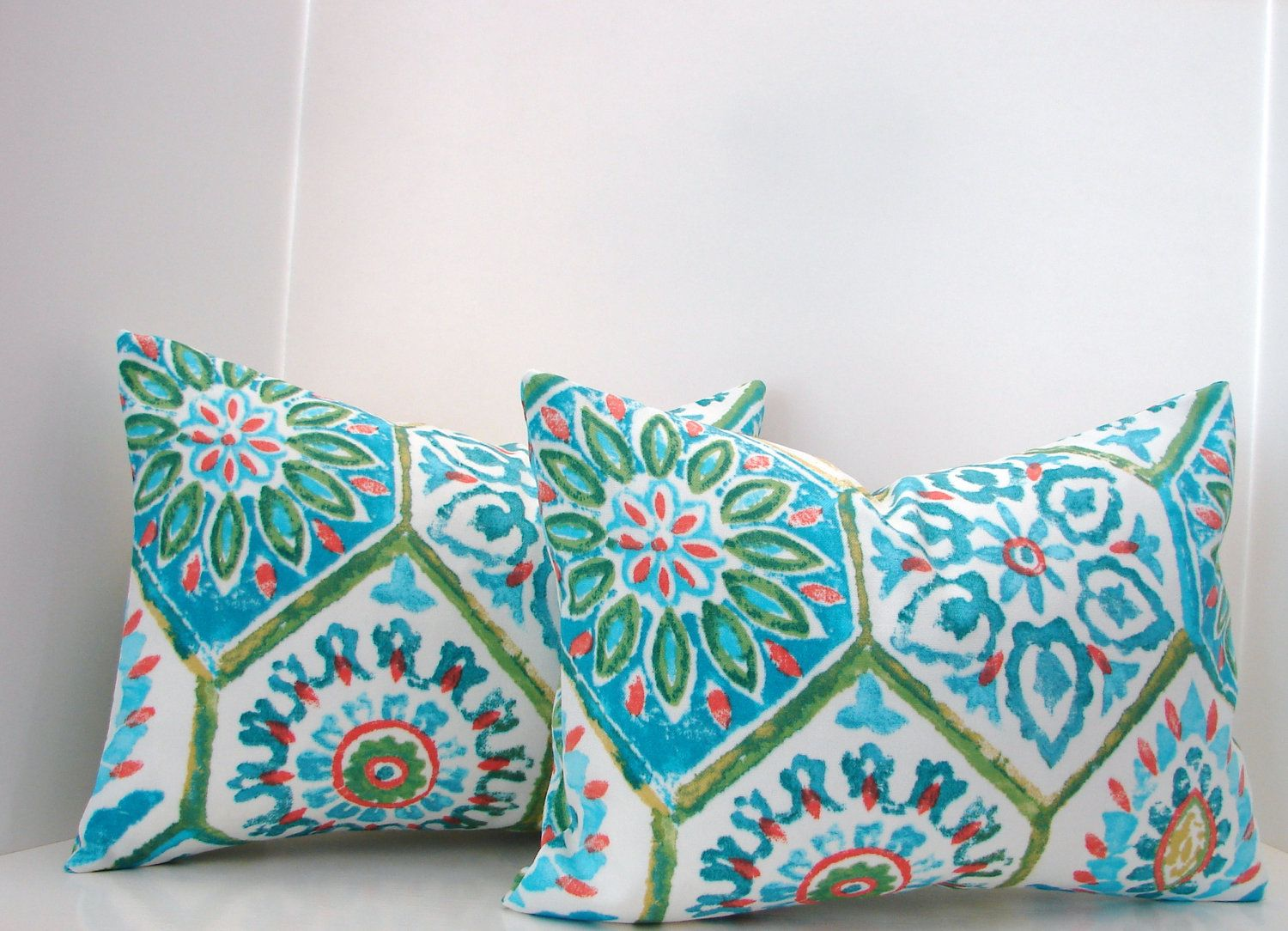 Etsy Throw Pillows Set Of 2 12 X 16 Lumbar Turquoisegreencoral Blue Outdoor