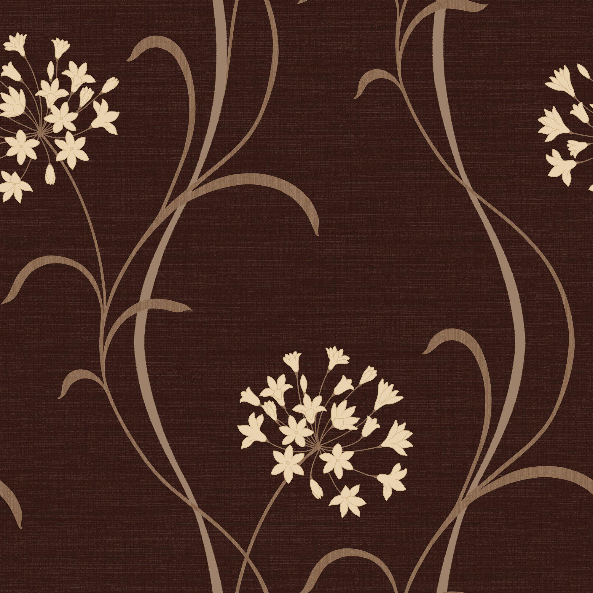 Home diy wallpaper illustration arthouse imagine fern plum motif vinyl - Arthouse Opera Mia Soft Sheen Highlights Dark Chocolate Wallpaper Departments Diy At B Q