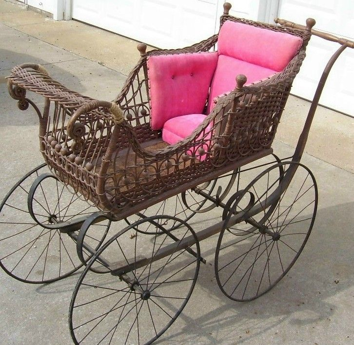 Antique Wicker Metal Baby Carriage Late 1800