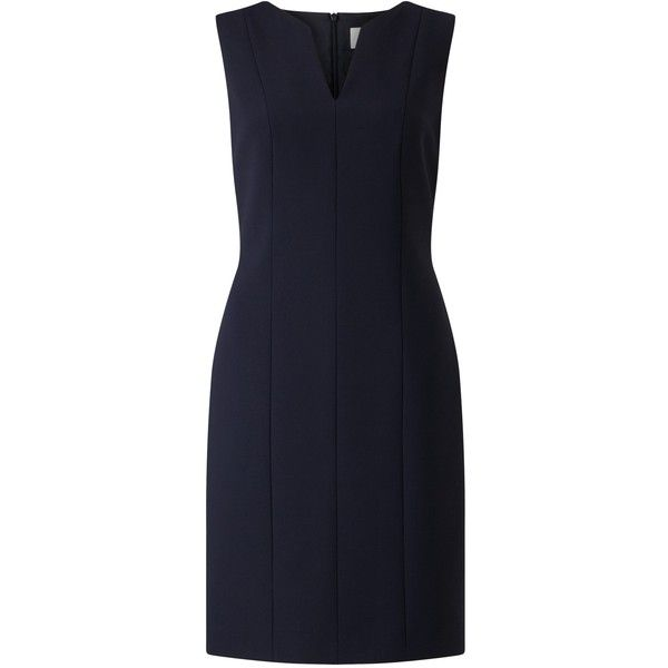 BOSS Dency Shift Dress, Open Blue (£330) ❤ liked on Polyvore featuring dresses, midi dresses, long-sleeve midi dresses, blue shift dress, sleeveless shift dress and mini dress
