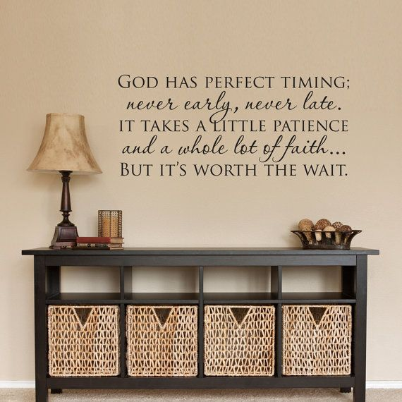 Christian wall decal god has perfect timing quote decor  also best art images on pinterest vinyl quotes bedroom rh