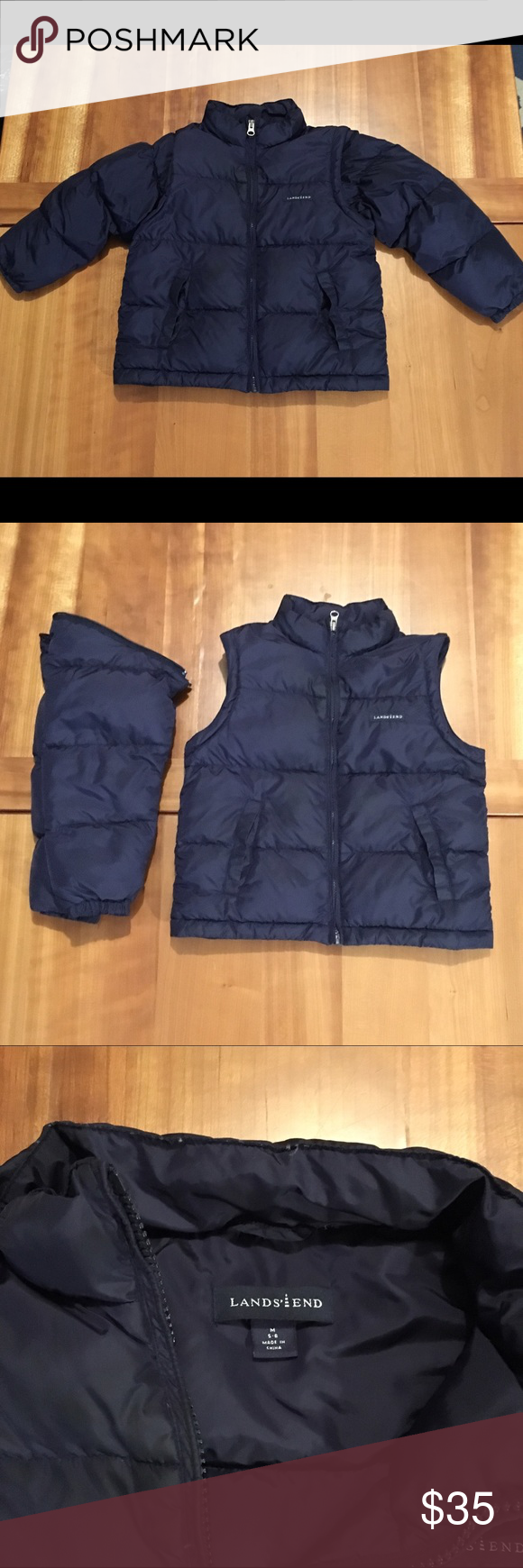 Lands End blue down filled puffer jacket ➡️ vest Lands End puffer jacket with removable sleeves to convert to a vest. Goose down filled. Navy blue color. Boys 5-6. Gently used. No rips or stains found. Lands' End Jackets & Coats Puffers
