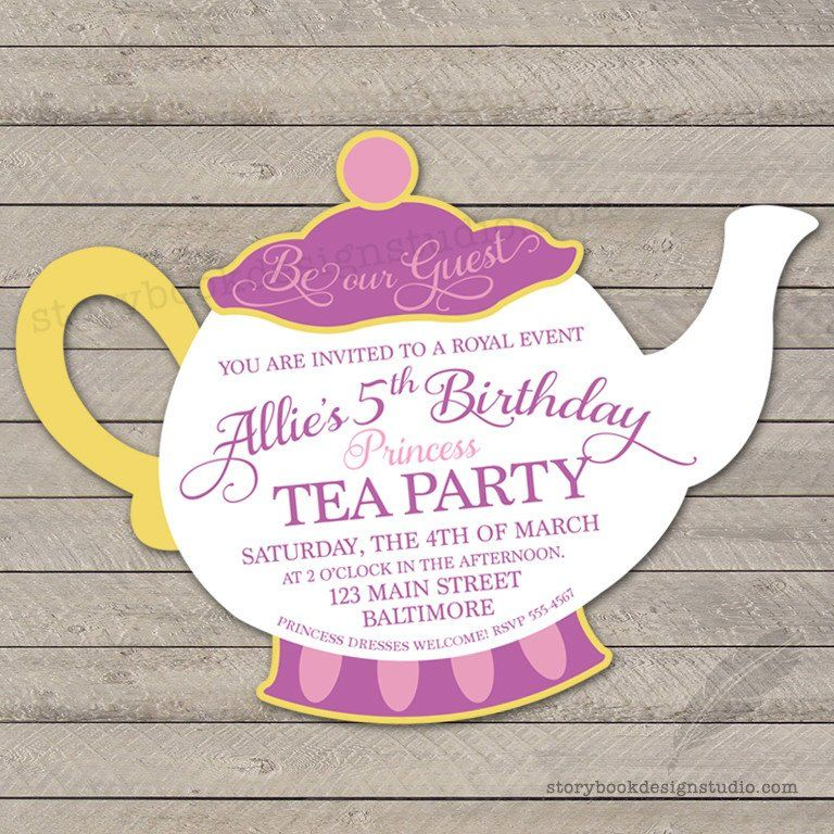 Princess Tea Party Birthday Invitations | Princess tea party, Tea ...