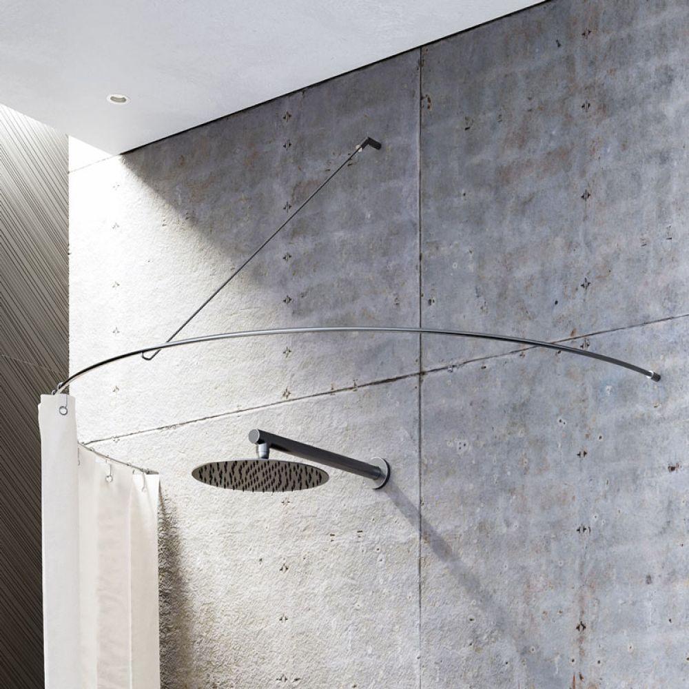 Duschvorhangstange Halbkreis Mit Diagonaler Wandbefestigung Duschvorhangstange