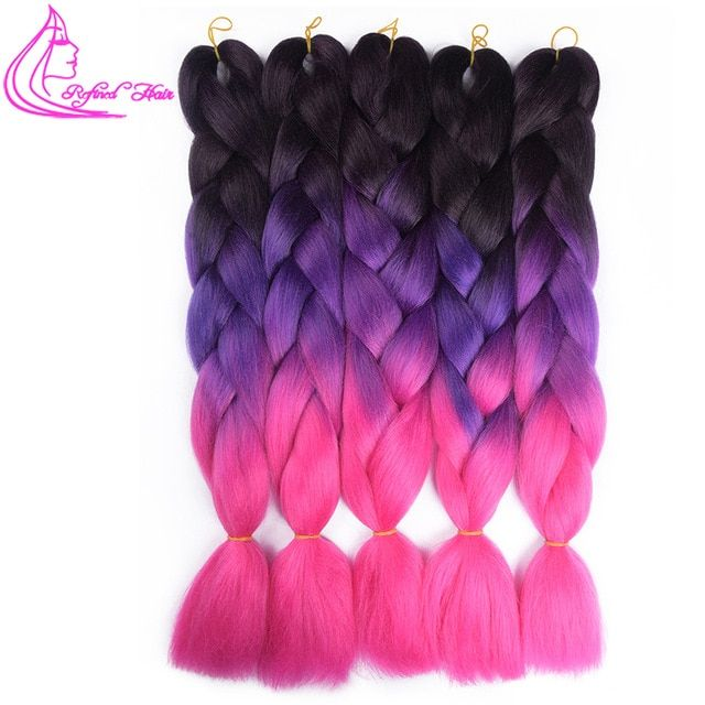 100g/pack 24inch Ombre Synthetic Kanekalon Braiding Hair For Crochet Braids False Hair Extensions African Ombre Jumbo Braids Wtb Hair Braids Jumbo Braids