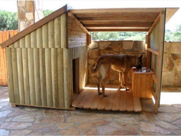 Awesome Dog House With Shade And Water Bowl Dog House Diy Cool