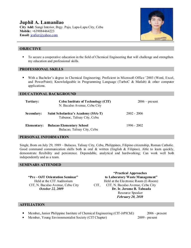 Ojt Resume In 2020 Sample Resume Format Job Resume Examples Free Resume Samples