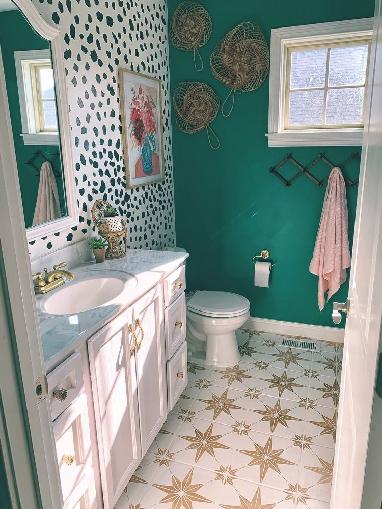 Diy Dotted Accent Wall Small Bathroom Redo Bathroom Redo Small Bathroom