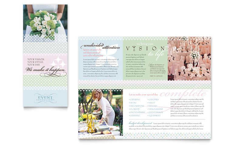 Wedding  Event Planning Brochure Template  Microsoft Word