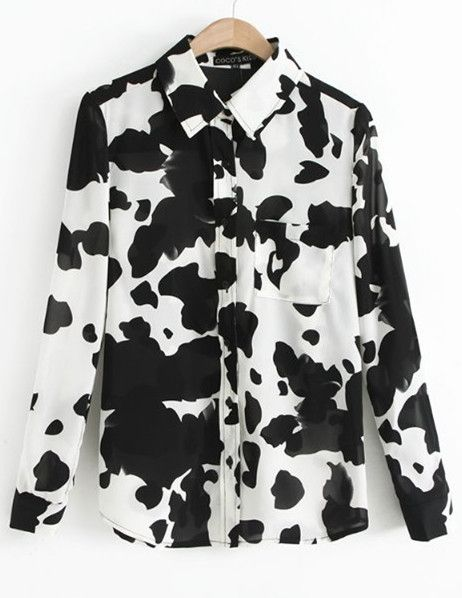 34057539d8 cow spots cute long-sleeved Color-matching shirt Womens Fashion Stores