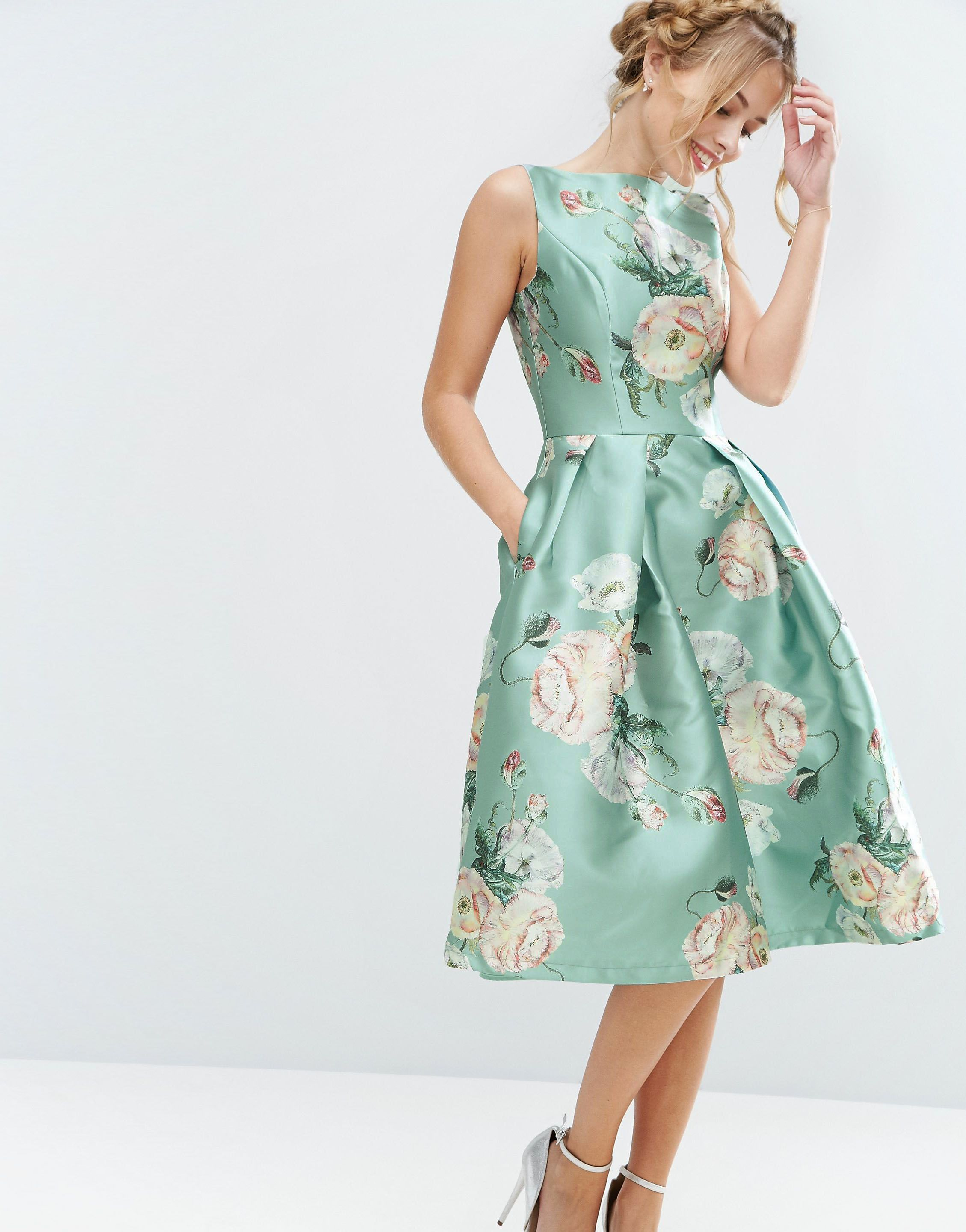 Chi Chi London Satin Midi Dress In Floral Print