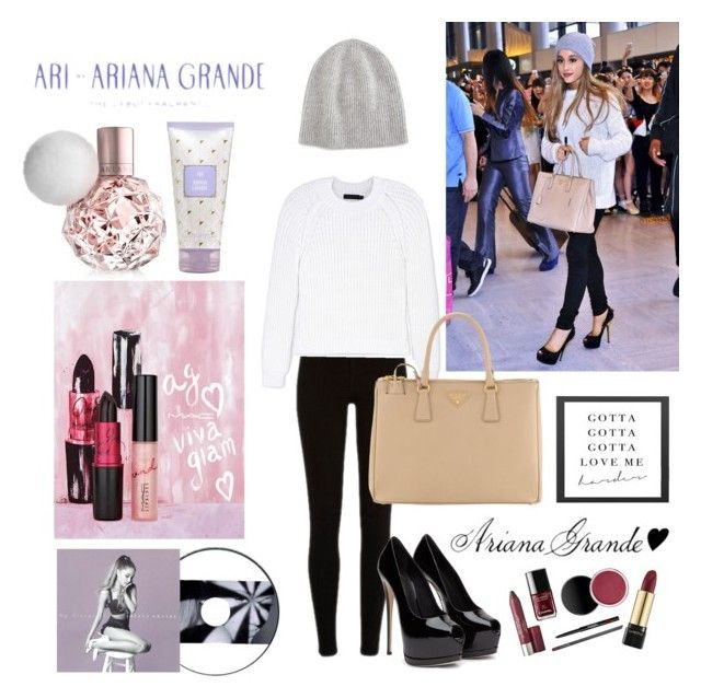 """""""Celeb Style: Ariana Grande"""" by natalie1789 ❤ liked on Polyvore featuring Vince, Calvin Klein Collection and Prada"""