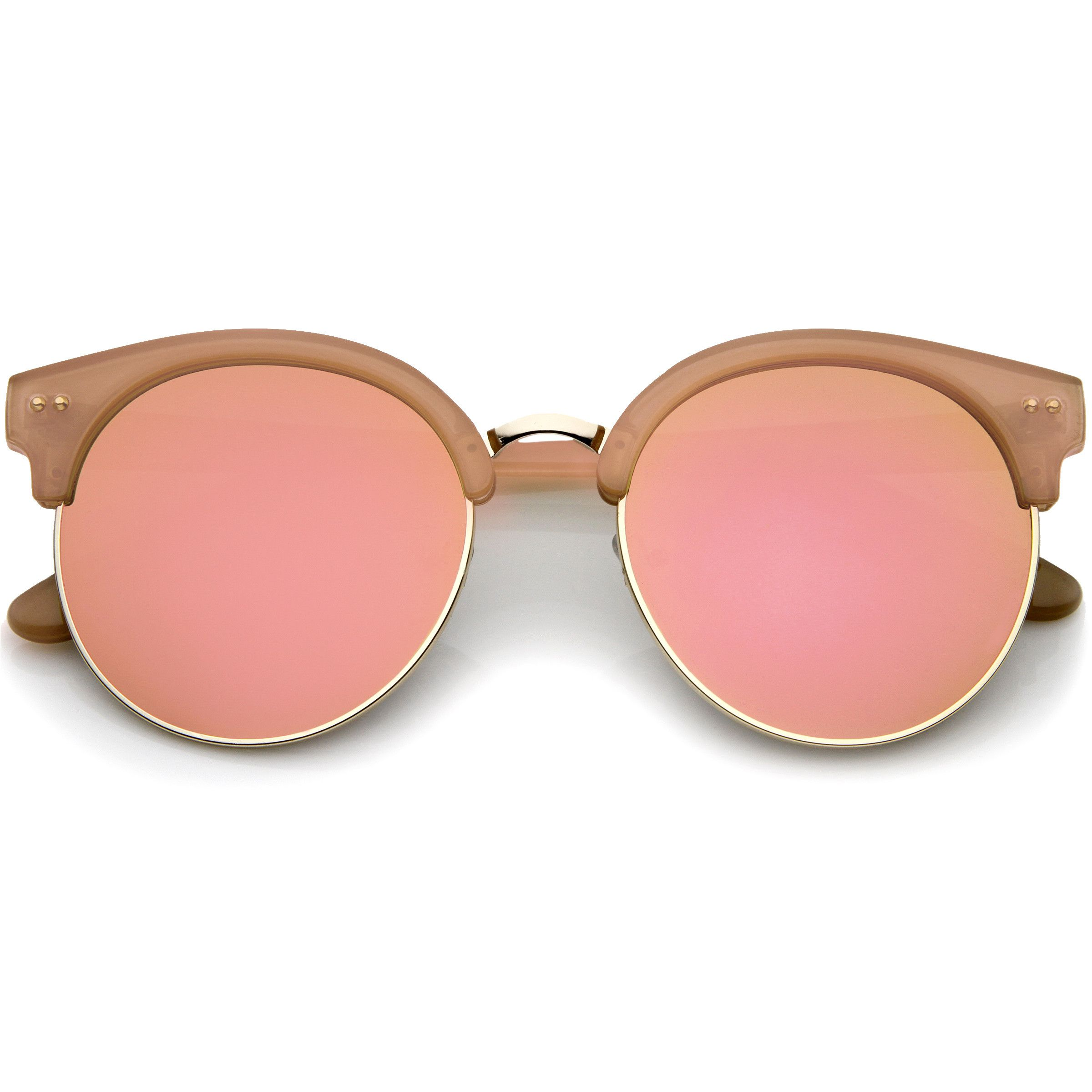 727c1121588e4 Glamorous round oversized half rimmed sunglasses that feature a round moon  cut shaped mirrored lenses and styled with flat lenses for less curvature  of the ...